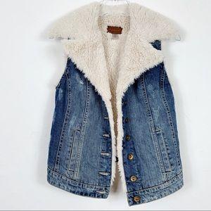 GUESS Distressed Denim Fur Fleece Sherpa Vest XS